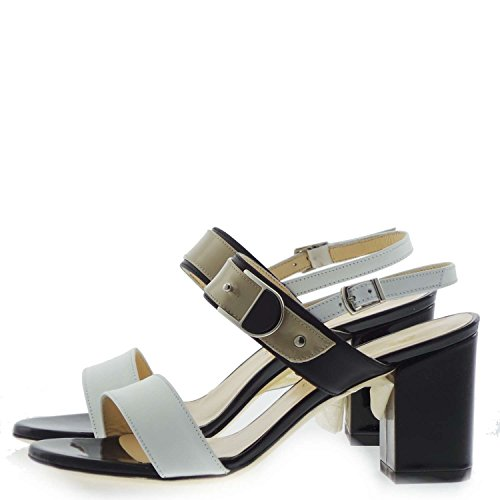 Melluso S727 Sandalo Donna 100% Pelle Bianco / Nero Bianco / Nero 35