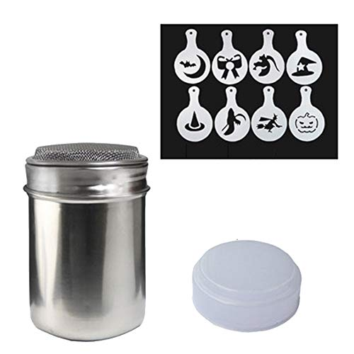 Stainless Steel Powder Shakers - Cooking Tools Icing Sugar Cake Powder Flour Coffee Sifter 8 Pcs Coffee Decorating Stencils (Halloween)