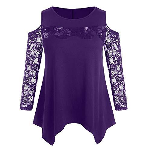 BHYDRY Damen große Größe lässig Spitze Nähte solide trägerlosen O-Neck T-Shirt Top