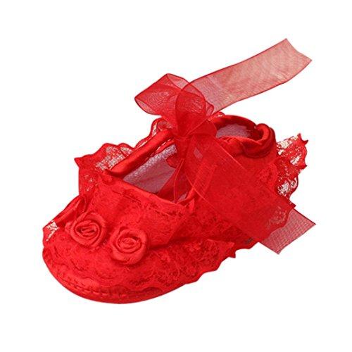 Clode® Baby weiche Sohle Spitze Blume Riband Anti Rutsch Prinzessin Schuhe Kleinkind Rot