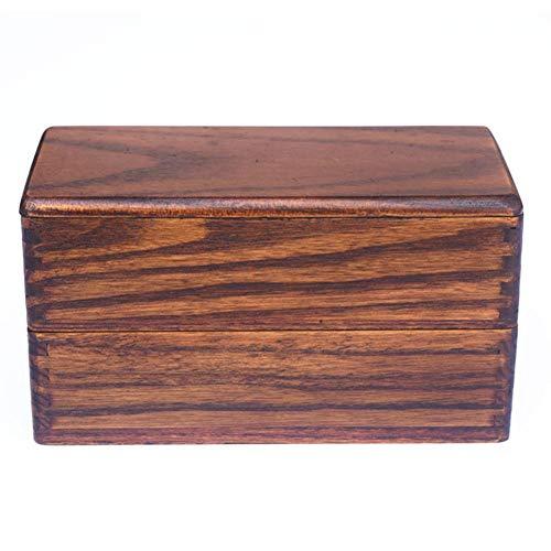 Sanmubo Handgemachtes Doppelte Lunchbox aus Natürliches Holz mit Gurtband Quadrat und 2 Schichten Bento-Box Sushi-Box Tragbares Picknick-Geschirr für Studenten Büroangestellte,1810CM Bento Sushi Box