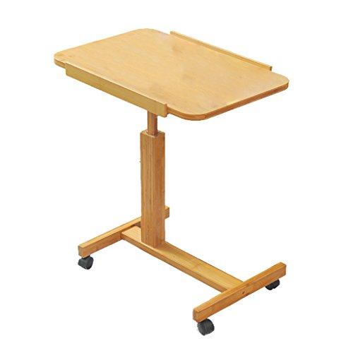 Foto de LXF Mesa plegable Mesa de plegables simple Material de bambú Tumbona cómoda Mesa de trabajo portátil portátil Computadora plegable con ruedas ( Tamaño : 60*40*94cm )