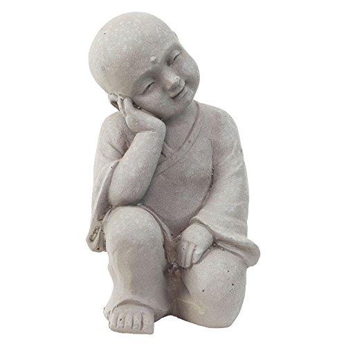 Garten Deko Figur Shaolin Mönch Buddha Denkend Stein Effekt in Grau - 25cm Hoch