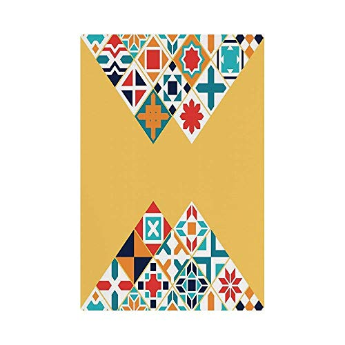 Liumiang Eco-Friendly Manual Custom Garden Flag Demonstration Flag Game Flag,Yellow and Blue,Colorful Geometric Traditional Motifs Tile Design Moroccan Oriental Ethnic,Multicolor décor -
