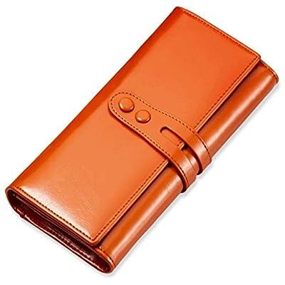 ZLR Mme portefeuille Portefeuille en cuir de vachette en cire à l'huile Long Retro Grande capacité Portefeuille en dames Portefeuille en cuir féminin