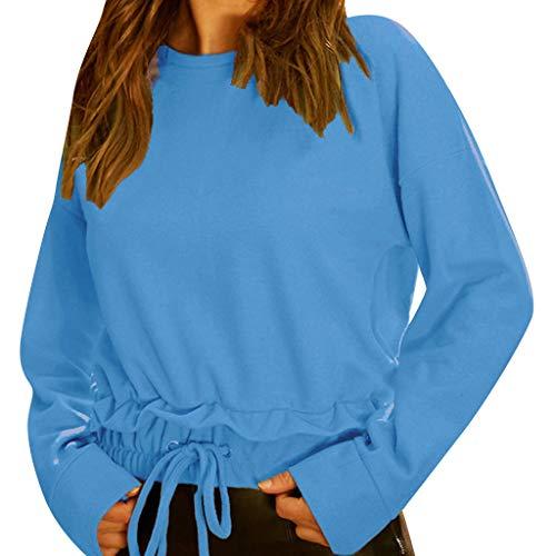 (Geilisungren Damen Bluse Frauen Herbst Elegant Schnüren T Shirt Damen Langarm Rundhalsausschnitt Pullover Bluse Sweatshirt Loose Freizeit Einfarbige Top Oberteile Langarmshirt)
