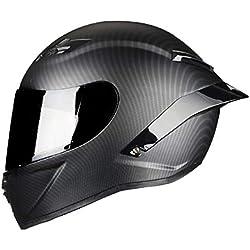Casco de Motocicleta de Cara Completa de Fibra de Carbono Casco de Carreras Motocross Casco de Carretera Black visor1 M
