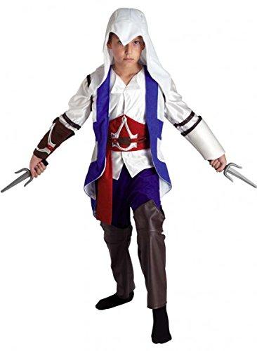 Premium Assassin-Kostüm für Jungen mit Gürtel, Stulpen und Mantel | Hochwertiges Karnevals-Kostüm / Faschings-Kostüm / Kinderkostüm | Perfekte Kämpfer Verkleidung für Karneval, Fasching, Fastnacht (Größe: 128)