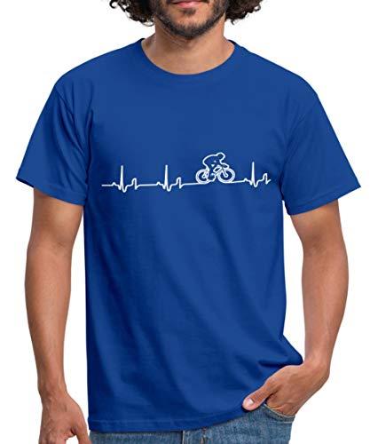 Spreadshirt Rennrad EKG Fahrrad Rennradfahrer Bike Männer T-Shirt, M, Royalblau - 48cm Rennrad