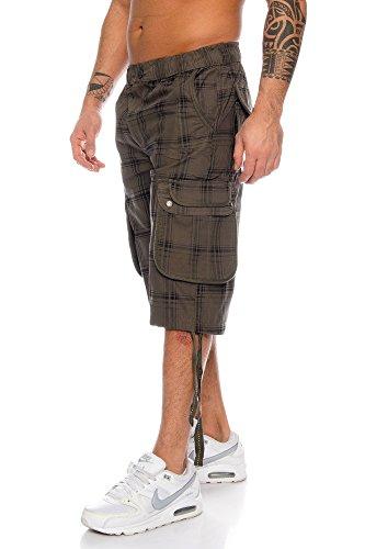 Herren Bermuda Karo Shorts Caprihose Capri Badeshorts bis 6XL Oliv