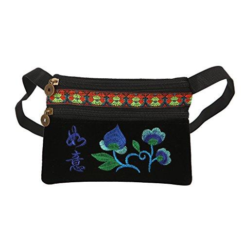 Preisvergleich Produktbild Wifun Mini Samt Stickerei Crane Shell Tasche Wilde Riemen Mode Umhängetaschen Designer Quaste Vintage Crossbody-tasche (#1)