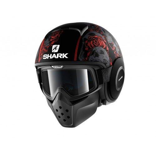 Shark casco de moto Drak Sanctus, color negro/rojo, talla M