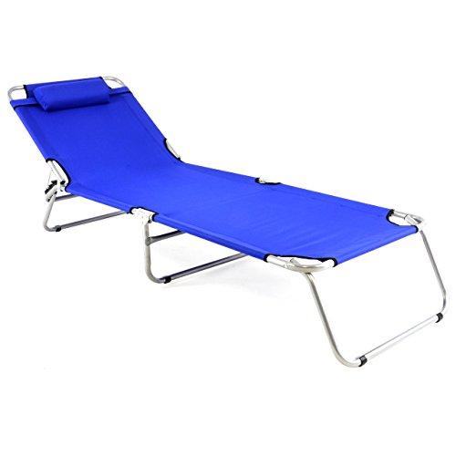 Nexos ZGC34366 Gartenliege Camping Liege blau 190x63x28 cm mit Kopfkissen Sonnenliege klappbar 4fach...