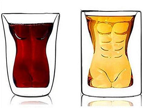Infiniment Grand Centre de home Decor 2pcs Creative et Beauté pour homme Tasse à double paroi en verre Tasse pour femme Whisky Bière Tasse
