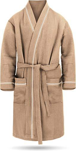 Kurzer Morgenmantel aus weicher Baumwolle für Herren - Öko Tex 100 - Premium Qualität Farbe Beige Größe M
