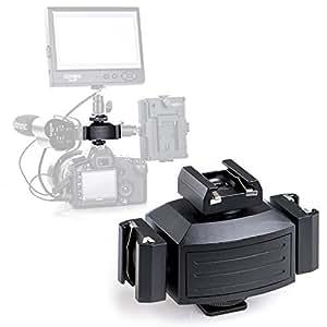 Micnova MQ-THA Support de Montage DSLR Caméra triple monture Cold Shoe pour Lampes Vidéo LED, Microphones pour Lumières, moniteurs, microphones et flash