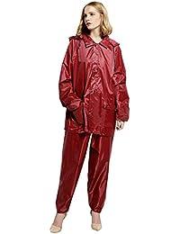 KINDOYO Unisexo Hombres Mujer Moda Traje Chaqueta Impermeable Traje de Lluvia Dos Piezas Conjunto Chaqueta y Pantalón Moto Outdoor, Violet Rojo(Conjuntos), EU M=Tag L
