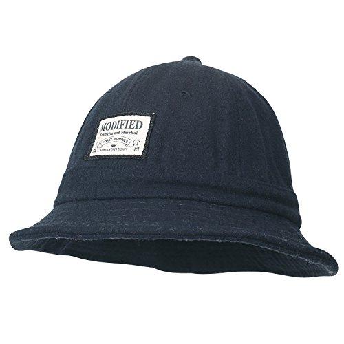 ililily Wolle gemischt leicht rund Oberteil Bowler-Hut Hut Flicken Eimer Hut , Navy (Full Hut Brim)