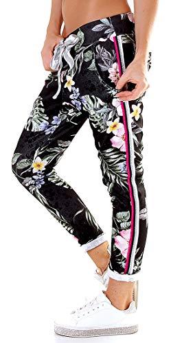 Damen Stretch Sweatpants Baggy Chino Stripes - Size 38 - strukturierte Freizeithose - 5-Pocket -