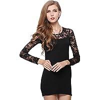 Da donna Pizzo Vestiti a Righe Donna Sexy Manica lunga Bodycon Mini vestito Vestidos nero