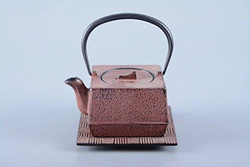 Gusseisen Teekanne / Kanne Hako 0,6l in antik rot inklusive Edelstahlsieb und Untersetzer