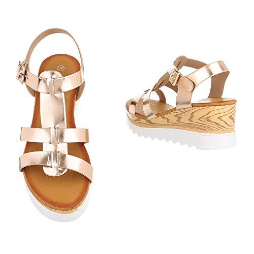 Ital-Design - Scarpe con cinturino alla caviglia Donna Gold