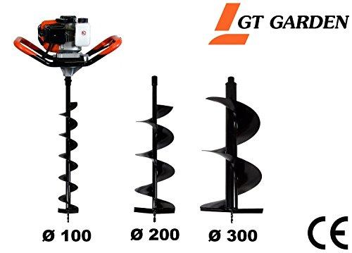 GT Garden Tarière thermique 52 cm3, 3 CV + lot de 3 mèches (100, 200 et 300 mm)