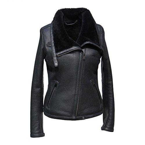 Lammfelljacke - POLA Damen Jacke Lederjacke Winterjacke Bikerjacke Merino Felljacke schwarz Size S