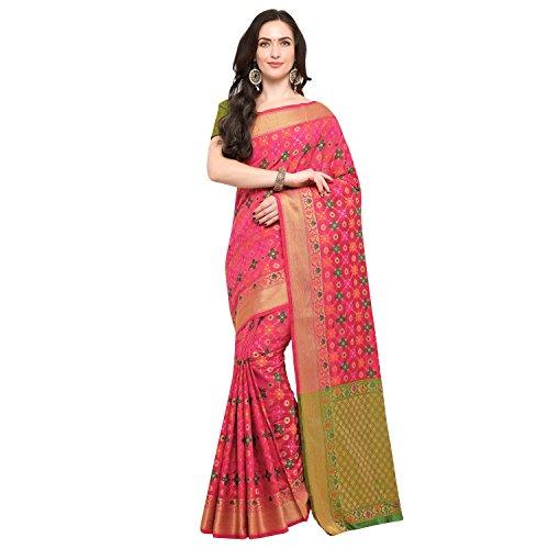 Janasya Women's Pink Silk Patola Saree With Unstitched Blouse (SR036-10547-PINK)