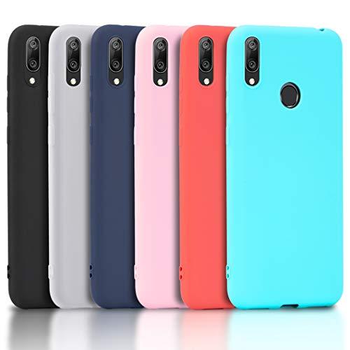 Wanxideng - 6X Cover Xiaomi Redmi 7, Custodia Morbido Opaco in Silicone TPU - Matt Silicone Case [ Nero + Rosso + Blu Scuro + Rosa + Verde Menta + Traslucido ]