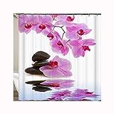 Epinki Duschvorhang Polyester Orchidee Stein Design Vorhang Waschbar für Badezimmer & Badewanne 150x180CM