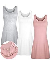 9fa535f484dd 3 PC Enaguas Mujer Camisón Ropa de Dormir Interior con Sujetador Color  Sólido