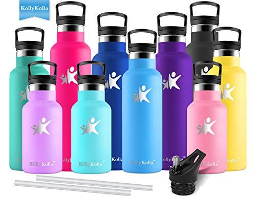 KollyKolla Vakuum-Isolierte Edelstahl Trinkflasche, 600ml BPA-frei Wasserflasche mit Filter, Thermosflasche für Kinder, Mädchen, Schule, Kindergarten, Sport, Wandern, Camping, Outdoor, Hellblau
