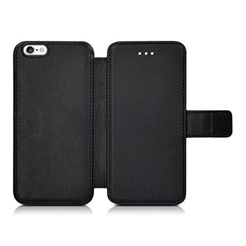kwmobile Slim Wallet Case für Apple iPhone 6 / 6S - Kunstleder Tasche Flip Hülle Kartenfach Magnet Cover in Schwarz .Schwarz