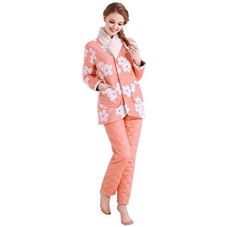 Mesdames Doux hiver chaud Cosy flanelle long Pyjama Orange