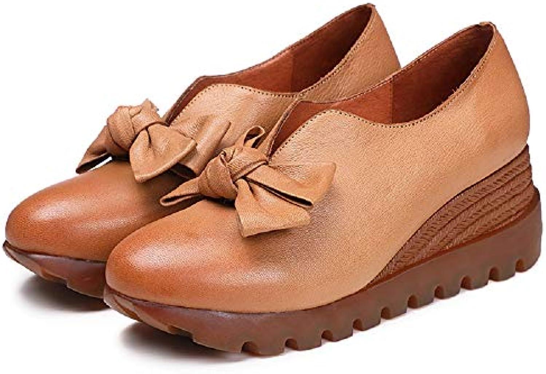 ZHRUI Tallone con Zeppa Bowknot Mary Jane - Donna. Slip on Leather scarpe (Coloreee   Marronee, Dimensione   EU 38) | prezzo di vendita  | Scolaro/Signora Scarpa