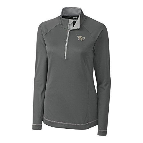 Cutter & Buck Damen Jacke NCAA Wake Forest Demon Deacons Long Sleeve Evolve Half Zip Jacket, Elemental Grey, Größe L - Cutter & Buck Mesh Pullover
