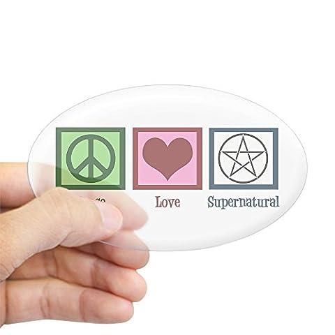 CafePress Peace Love Supernatural Aufkleber oval, farblos, 3x5