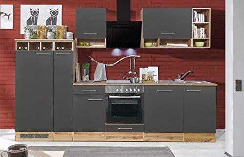 respekta Küchenzeile Küche Küchenblock Einbauküche Komplettküche 310 cm Wildeiche grau inkl. Geräte