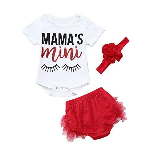 OVINEE 3 STÜCKE Neugeborenen Kleinkind Babyspielanzug Infant Girls Print Overall Kleidung Outfit Anzug Stirnband Spitze Shorts Set