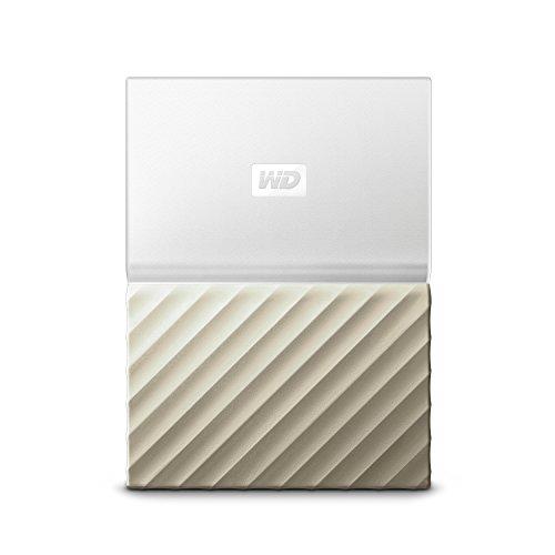 WD My Passport Ultra Disque Dur Externe Portable 2To avec Sauvegarde Automatique pour PC, Xbox One et Playstation 4 - Blanc/Doré
