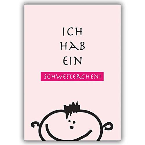 1 Babykarte: Süße Geburtsanzeige rosa, Junge: Ich hab ein Schwesterchen • zauberhafte Willkommens Grusskarte, Geburtsanzeige um das Baby Glück zu teilen, individuelle Babykarte für Mitarbeiter, Familie, Freunde & Kollegen