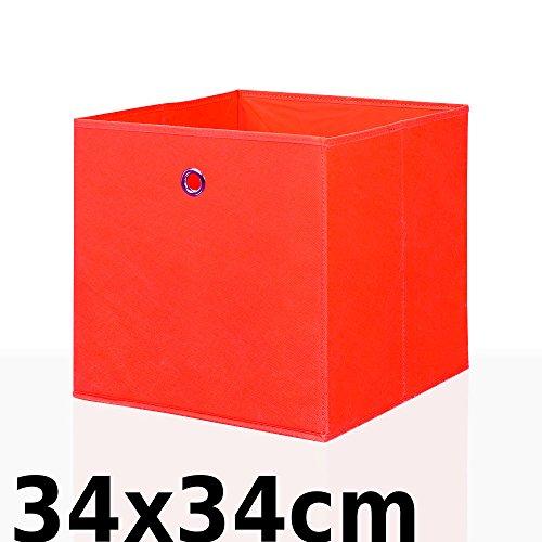 Faltbox Faltkiste Regalkorb Regalkiste Regalbox Aufbewahrungsbox Spielkiste Staubox Korb, Farbe:Rot