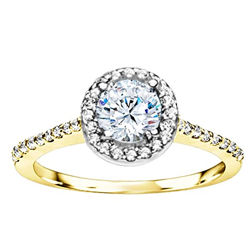 Silvernshine Bridal Halo Engagement Wedding Ring In 14k Yellow Gold Over In White Diamond CZ