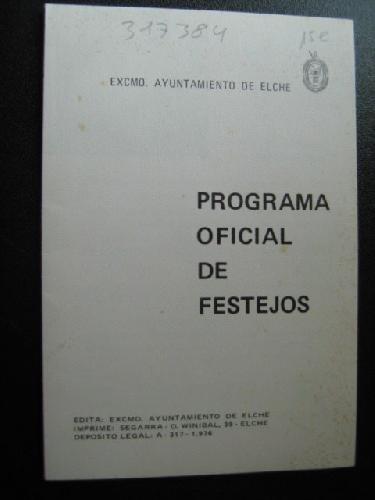 PROGRAMA OFICIAL DE FESTEJOS. ELCHE
