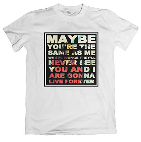 Oasis Live Forever Lyrics Tshirt - Loose Fit, 7 Colours, S to 5XL