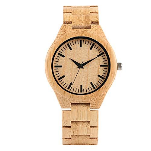 Armbanduhr aus Holz, handgefertigt, natürlich, 46 mm, Holz-Uhrwerk, Quarz-Uhrwerk