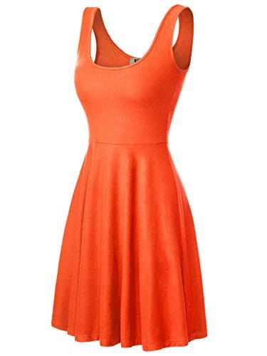 Mit Rock Trägern (DJT Damen Vintage Sommerkleid Traeger mit Flatterndem Rock Blumenmuster Orange M)