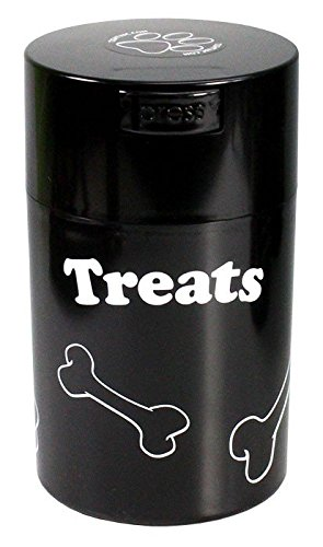 pawvac-6-ounce-vacuum-sealed-pet-food-storage-container-black-cap-body-white-treats