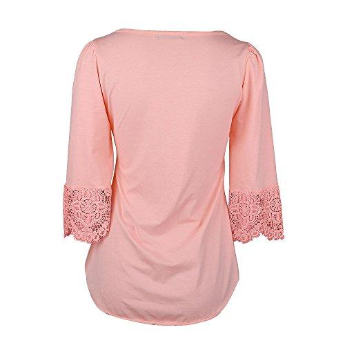 SUNNOW Damen Langarmshirt Neue Mode Vier Jahreszeiten Tops V-Ausschnitt Einfarbig Aufdruck Spitze T-Shirt Locker Faltenbluse Rosa